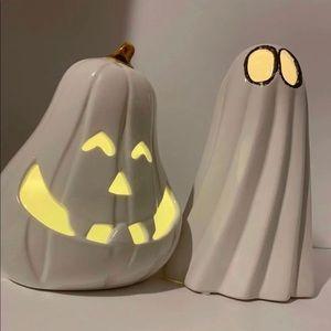 Ceramic light up Ghost & pumpkin